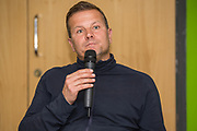 Forest Green Rovers manager, Mark Cooper addresses Forest Green Rovers fans forum at The New Lawn, United Kingdom on 22 September 2017. Photo by Shane Healey.