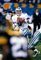 Dallas Cowboys Troy Aikman plays in Super Bowl XXX against the Pittsburgh Steelers at Sun Devil Stadium on January 28, 1996 in Tempe, AZ. The Cowboys defeated the Steelers  27-17.<br />  (AP Photo/Tom DiPace)