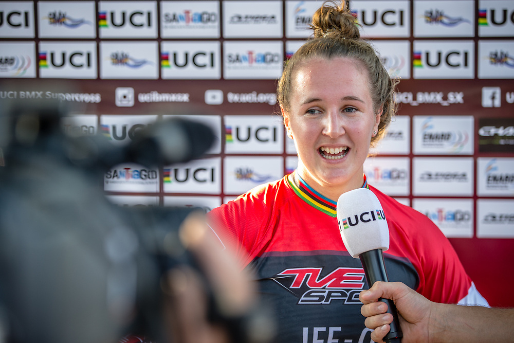 #110 (SMULDERS Laura) NED wins Round 9 of the 2019 UCI BMX Supercross World Cup in Santiago del Estero, Argentina