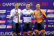 Podium, Men Sprint, Jeffrey Hoogland (Netherlands) gold medal, Stefan Botticher (Germany) silver medal, Harrie Lavreysen (Netherlands) Bronze medal, during the Track Cycling European Championships Glasgow 2018, at Sir Chris Hoy Velodrome, in Glasgow, Great Britain, Day 5, on August 6, 2018 - Photo luca Bettini / BettiniPhoto / ProSportsImages / DPPI<br /> - Restriction / Netherlands out, Belgium out, Spain out, Italy out -