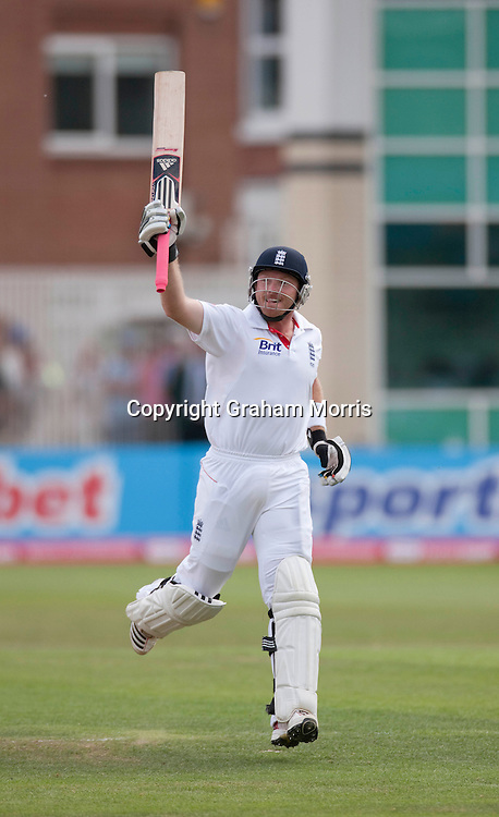 Ian Bell celebrates his century during the second npower Test Match between England and India at Trent Bridge, Nottingham.  Photo: Graham Morris (Tel: +44(0)20 8969 4192 Email: sales@cricketpix.com) 31/07/11