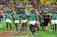 A disappointed Kenyan side leave the field after their extra time defeat against England in the final at the IRB International Rugby Sevens, Westpac, Wellington, New Zealand, Saturday, February 02, 2013. Credit:SNPA / Ross Setford