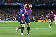 GOAL - Barcelona forward Lionel Messi  (10) celebrates with Barcelona midfielder Philippe Coutinho (7) 1-0 during the Champions League quarter-final leg 2 of 2 match between Barcelona and Manchester United at Camp Nou, Barcelona, Spain on 16 April 2019.