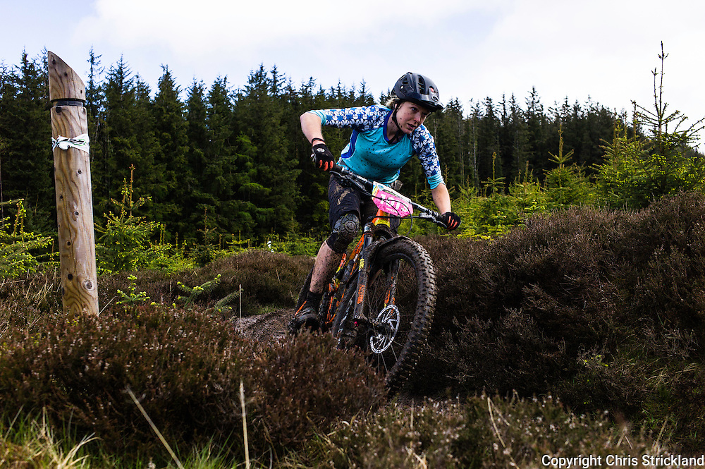 Glentress, Peebles, Scotland, UK. 31st May 2015. Raewyn Morrison in action at The Enduro World Series Round 3 taking place on the iconic 7Stanes trails during Tweedlove Festival. Mountain bikers come up against eight stages across two days, with an intense 2,695 metres of climbing over 93km. As well as the physicality of the liaisons, the stages themselves are technical, catching many off guard.