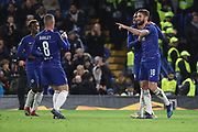 Olivier Giroud of Chelsea (18) celebrating after scoring during the Champions League group stage match between Chelsea and PAOK Salonica at Stamford Bridge, London, England on 29 November 2018.