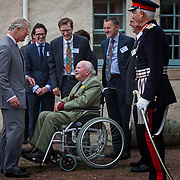 Prince of Wales, Prince Charles visits the Lime Centre, Charlestown, Fife. HRH greets Andrew Bruce, 11th Earl of Elgin. 08 Sep 2017. Charlestown. Credit: Photo by Tina Norris. Copyright photograph by Tina Norris. Not to be archived and reproduced without prior permission and payment. Contact Tina on 07775 593 830 info@tinanorris.co.uk  <br /> www.tinanorris.co.uk