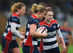 Claire Molloy of Bristol Ladies celebrates her try with Cat McNaney of Bristol Ladies - Mandatory by-line: Paul Knight/JMP - 30/03/2018 - RUGBY - Shaftsbury Park - Bristol, England - Bristol Ladies v Saracens Women - Tyrrells Premier 15s