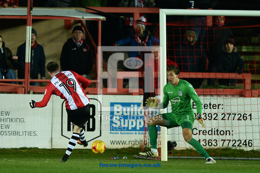 Liam McAlinden of Exeter City scores his sides third goal to make the scoreline 3-0 during the Sky Bet League 2 match between Exeter City and Colchester United at St James' Park, Exeter<br /> Picture by Richard Blaxall/Focus Images Ltd +44 7853 364624<br /> 21/01/2017