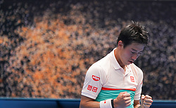 MELBOURNE, Jan. 17, 2019  Kei Nishikori of Japan reacts during the men's second round match between Kei Nishikori of Japan and Ivo Karlovic of Croatia at the 2019 Australian Open in Melbourne, Australia, Jan. 17, 2019. (Credit Image: © Bai Xuefei/Xinhua via ZUMA Wire)