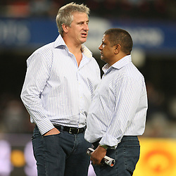 DURBAN, SOUTH AFRICA - MAY 08:  Backline Coach: Robbie Fleck  with coach Allister Coetzee<br /> during the Super 14 match between Sharks and Vodacom Stormers from Absa Stadium on May 08, 2010 in Durban, South Africa.<br /> Photo by Steve Haag / Gallo Images
