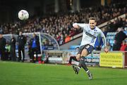 Chris Hussey (3) of Bury crosses ball  during the Sky Bet League 1 match between Scunthorpe United and Bury at Glanford Park, Scunthorpe, England on 19 April 2016. Photo by Ian Lyall.