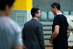 Sani Becirovic and Jurica Golemac, new head coach during his first practice with team KK Cedevita Olimpija on January 28, 2020 in Arena Stozice, Ljubljana, Slovenia. Photo By Grega Valancic / Sportida