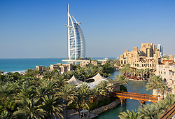 View of resort hotels at Madinat Jumeirah and Burj al Arab hotel in Dubai in United Arab Emirates