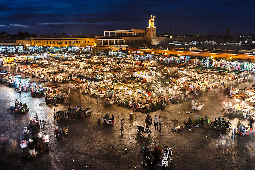 Evening in Jemaa el Fna square, Marrakesh, Morocco