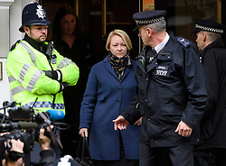 © Licensed to London News Pictures. 14/11/2016. London, UK. Swedish officials, including INGRID ISGREN (blonde hair, centre) leave the Ecuadorian Embassy in London during a lunch break in questioning of WikiLeaks editor-in-chief, Julian Assange. Assange, who has been living at the embassy for over four years, is wanted for questioning over accusations of rape in Stockholm in 2010.  Photo credit: Ben Cawthra/LNP