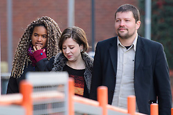 © Licensed to London News Pictures. 17/01/2017. London, UK. L to R ANAOMI MABITA, LISON PLAYFORD and MARK WEAVER arrive at Willesden Magistrates Court in west London where they are three of nine people charged with wilfully obstructing the highway at Heathrow Airport. A group of protesters supporting the Black Lives Matter group blocked the M4 spur road to Heathrow Airport in August last year. Photo credit: Ben Cawthra/LNP