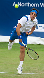 LIVERPOOL, ENGLAND - Friday, June 17, 2011: Federico Gil (POR) in action during day two of the Liverpool International Tennis Tournament at Calderstones Park. (Pic by David Rawcliffe/Propaganda)