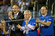 John Bercow, Speaker of the House of Commons, cheers on Great Britain during the 2016 Davis Cup Semi Final between Great Britain and Argentina at the Emirates Arena, Glasgow, United Kingdom on 17 September 2016. Photo by Craig Doyle.