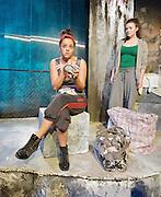 Khadija is 18<br /> by Shamser Sinha<br /> at The Finborough Theatre, London, Great Britain <br /> press photocall<br /> 1st November 2012 <br /> <br /> Victor Ali as Ade<br /> <br /> Damson Idris as Sam<br /> <br /> Aysha Kala as Khadija <br /> <br /> Katherine Rose Morley as Liza <br /> <br /> Photograph by Elliott Franks
