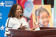 Head Start Director Venitia Peacock comments during a ribbon cutting ceremony for the new Baytown Head Start and Early Head Start facility, May 23, 2019.