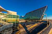 Jeppesen Terminal on left and Westin Denver International Airport Hotel on right, Denver, Colorado USA. The design of the hotel resembles a bird in flight.