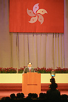 HONG KONG- JULY 1: Chinese president Jiang Zemin speaks during a handover celebration July 1, 1997 in Hong Kong, China. On July 1, 1997 Hong Kong was handed over to China from the United Kingdom after being a colony for 150 years. (Photo by David Paul Morris) ..