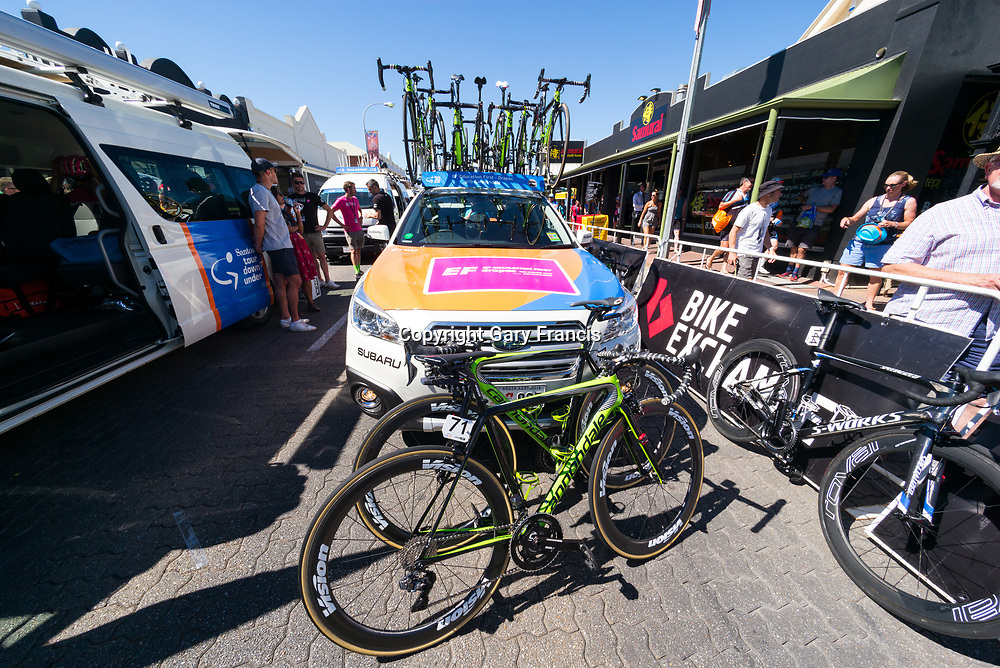 Ef Education First Drapac team car at the start of Stage 2, Unley to Stirling, of the Tour Down Under, Australia on the 17 of January 2018 ( Credit Image: © Gary Francis / ZUMA WIRE SERVICE )