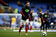 Arsenal midfielder Mesut Ozil (10) warming up during the Premier League match between Everton and Arsenal at Goodison Park, Liverpool, England on 7 April 2019.