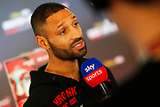 Kell Brook talks to Sky Sports during the Kell Brook vs Mark DeLuca Weigh-In at the Millennium Gallery, Arundel Gate, Sheffield, United Kingdom on 7 February 2020.
