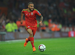 Jazz Richards of Wales (Swansea City) in action. - Photo mandatory by-line: Alex James/JMP - Mobile: 07966 386802 - 12/06/2015 - SPORT - Football - Cardiff - Cardiff City Stadium - Wales v Belgium - Euro 2016 qualifier