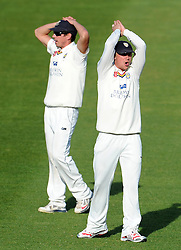 Dejection for Durham's Michael Richardson and Scott Borthwick  - Photo mandatory by-line: Harry Trump/JMP - Mobile: 07966 386802 - 13/04/15 - SPORT - CRICKET - LVCC County Championship - Day 2 - Somerset v Durham - The County Ground, Taunton, England.