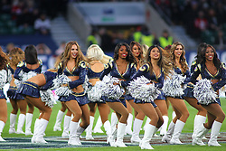 LONDON, ENGLAND - OCTOBER 22: The Los Angeles Rams cheerleaders perform during the NFL match between the Arizona Cardinals and the Los Angeles Rams at Twickenham Stadium on October 22, 2017 in London, United Kingdom. (Photo by Mitchell Gunn/ESPA-Images)
