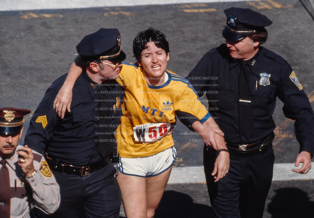 Rosie Ruiz at the finish line of the 1980 Boston Marathon.
