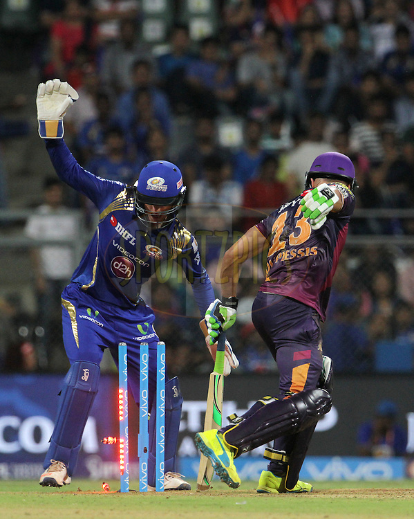 Rising Pune Supergiants player Faf du Plesis gets clean bowled during match 1 of the Vivo Indian Premier League ( IPL ) 2016 between the Mumbai Indians and the Rising Pune Supergiants held at the Wankhede Stadium in Mumbai on the 9th April 2016<br /> <br /> Photo by Vipin Pawar/ IPL/ SPORTZPICS