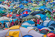 Tents, tens, tents - The 2017 Glastonbury Festival, Worthy Farm. Glastonbury, 2 June 2017