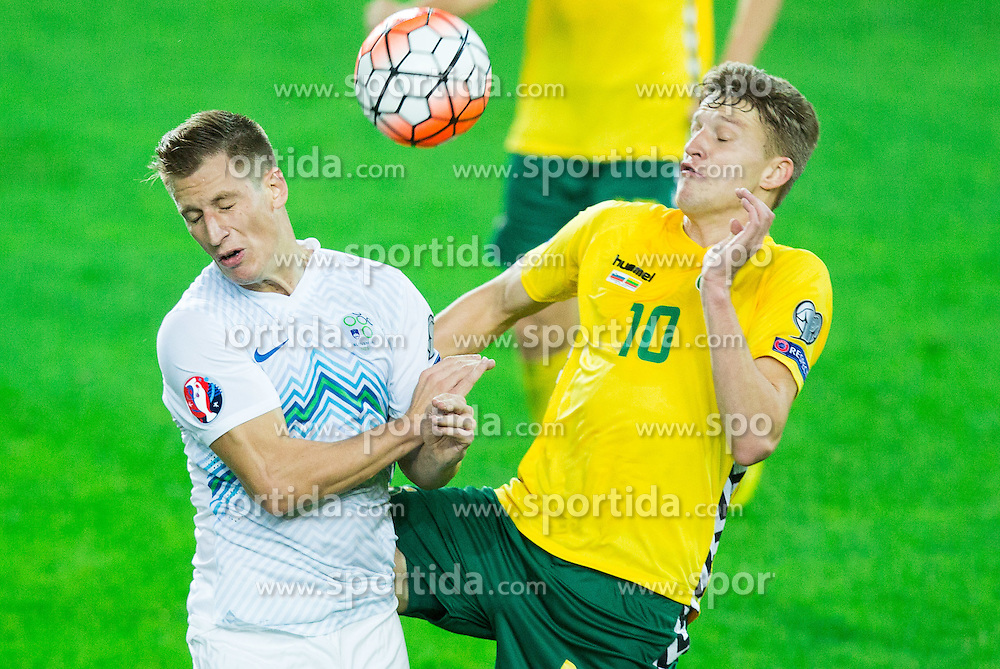 Valter Birsa of Slovenia vs Vykintas Slivka of Lithuania during the EURO 2016 Qualifier Group E match between Slovenia and Lithuania, on October 9, 2015 in SRC Stozice, Ljubljana Slovenia. Photo by Vid Ponikvar / Sportida