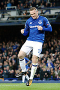 Everton striker Wayne Rooney (10) celebrates his goal 1-1  during the Europa League match between Everton and Apollon Limassol at Goodison Park, Liverpool, England on 28 September 2017. Photo by Craig Galloway.
