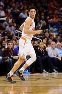 Jan 23, 2016; Phoenix, AZ, USA; Phoenix Suns guard Devin Booker (1) looks back while running up the court in the first half against the Atlanta Hawks at Talking Stick Resort Arena. Mandatory Credit: Jennifer Stewart-USA TODAY Sports