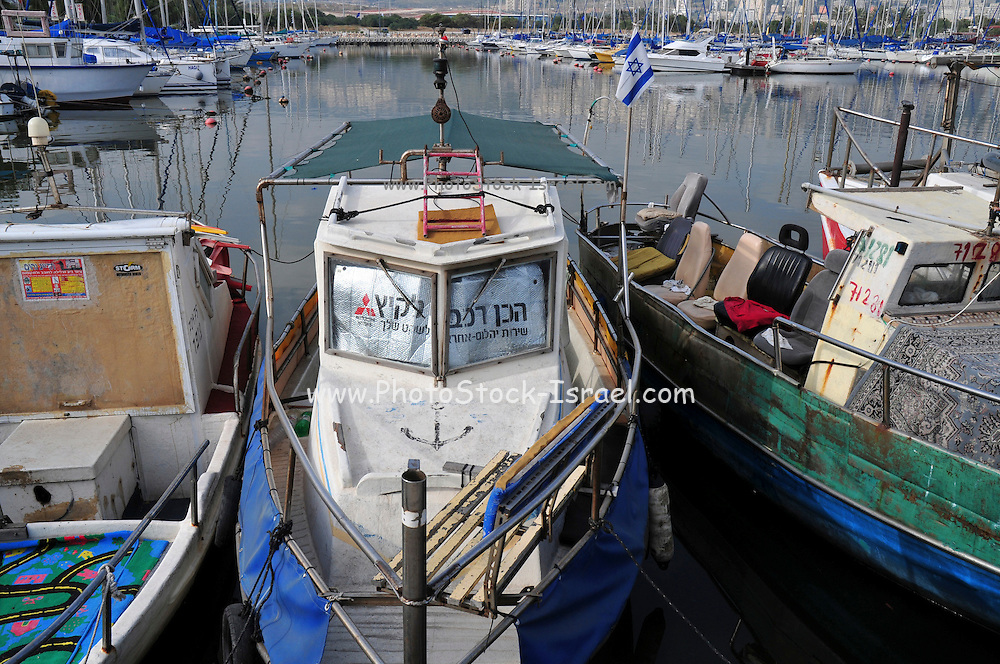 Israel, Bay of Haifa, The Kishon Port. used by fisherman and yacht owner, April 28, 2009,
