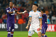 Lucas Ocampos gestures during the French Championship Ligue 1 football match between Olympique de Marseille and Toulouse FC on September 24, 2017 at Orange Velodrome stadium in Marseille, France - Photo Philippe Laurenson / ProSportsImages / DPPI