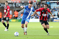 Peterborough United's Paul Taylor in action with Shrewsbury Town's Aaron Wildig - Photo mandatory by-line: Joe Dent/JMP - Tel: Mobile: 07966 386802 19/10/2013 - SPORT - FOOTBALL - London Road Stadium - Peterborough - Peterborough United V Shrewsbury Town - Sky Bet League One