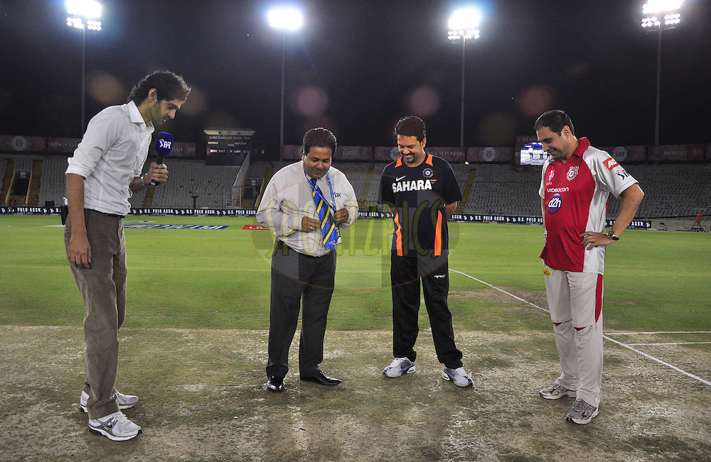 (L to R)Gaurav Kapoor and Rajeev Shukla chairman of ipl with Anurag captian of ipl and Mohit Khanna captian of Kings X1 Punjab during toss match 33 of the the Indian Premier League ( IPL) 2012  between The Kings X1 Punjab and The Mumbai Indians held at the Punjab Cricket Association Stadium, Mohali on the 25th April 2012..Photo by Arjun Panwar/IPL/SPORTZPICS