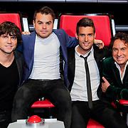 NLD/Hilversum/20121109 - The Voice of Holland 1e liveuitzending, Simon Keizer, Nick Schilder, Roel van Velzen en Marco Borsato