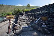 Kealakekua Bay. Hikiau Heiau, a sacred temple.