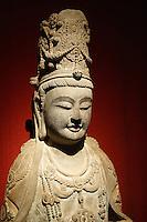 Chine, Shanghai, Place du Peuple, Musee de Shanghai, statue d'un Bodhisatva, 581-618 apres JC. // China, Shanghai, People Square, Shanghai Museum, Bodhisatva stone statue, A.D. 581-618