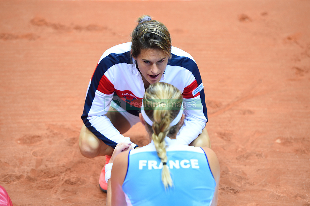 French Fed Cup captain Amelie Mauresmo during the second match at the semi final round tie at the Arena Loire, Trelaze, France, on April, 16, 2016. Photo by Corinne Dubreuil/ABACAPRESS.COM