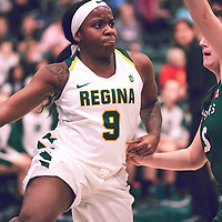 3rd year guard, Kyanna Giles (9) of the Regina Cougars during the Women's Basketball Home Game on Fri Feb 01 at Centre for Kinesiology,Health and Sport. Credit: Arthur Ward/Arthur Images