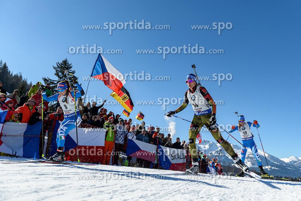 19.02.2017, Biathlonarena, Hochfilzen, AUT, IBU Weltmeisterschaften Biathlon, Hochfilzen 2017, Massenstart Damen, im Bild Dorothea Wierer (ITA), Vanessa Hinz (GER), Lisa Vittozzi (ITA) // Dorothea Wierer of Italy Vanessa Hinz of Germany and Lisa Vittozzi of Italy during Womens Masstart of the IBU Biathlon World Championships at the Biathlonarena in Hochfilzen, Austria on 2017/02/19. EXPA Pictures © 2017, PhotoCredit: EXPA/ Stefan Adelsberger