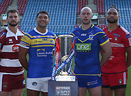 Betfred Super League Official Photograph (L-R) Sean O'Loughlin (Wigan Warriors), Ryan Hall (Leeds Rhinos), Chris Hill (Warrington Wolves), Manu Vatuvei (Salford Red Devils)  during the media launch for the Betfred Super League 2018 season at the John Smiths Stadium, Huddersfield<br /> Picture by Stephen Gaunt/Focus Images Ltd +447904 833202<br /> 25/01/2018