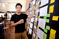 Pinterest CEO and co-founder Ben Silbermann walks through the office.
